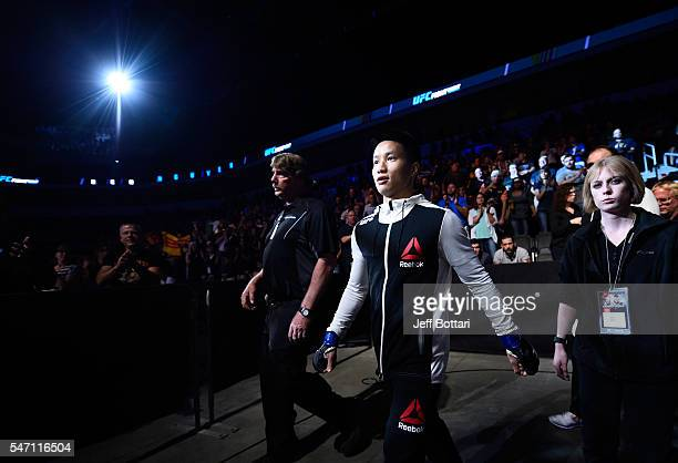 Ben Nguyen prepares to enter the Octagon before facing Louis Smolka in their flyweight bout during the UFC Fight Night event on July 13, 2016 at...