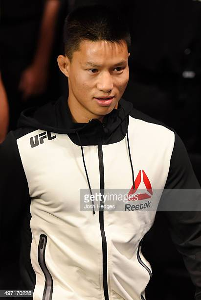 Ben Nguyen walks to the Octagon before his fight against Ryan Benoit in their flyweight bout during the UFC 193 event at Etihad Stadium on November...