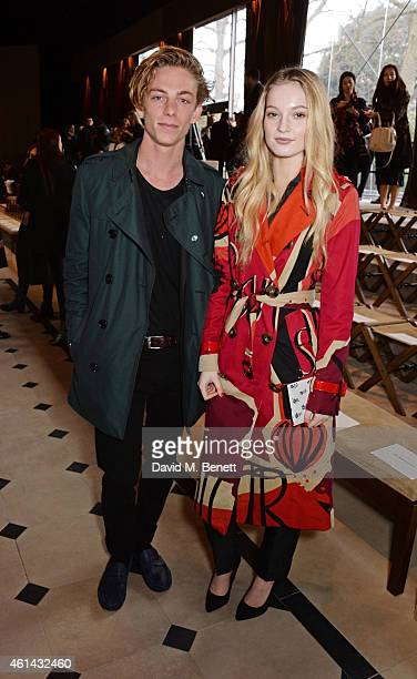 Ben Nordberg and Hannah Dodd attend the front row at Burberry Prorsum AW15 London Collections Men at Kensington Gardens on January 12 2015 in London...