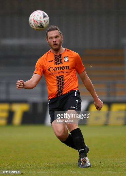 Ben Nugent of Barnet during the Emirates FA Cup Second Round match between Barnet FC and Milton Keynes Dons at The Hive London on November 29, 2020...