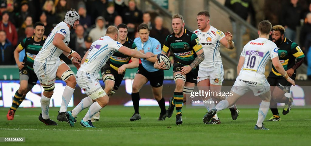 Ben Nutley of Northampton breaks with the ball during the Aviva A League Final between Northampton Wanderers and Exeter Braves at Franklin's Gardens on April 30, 2018 in Northampton, England.