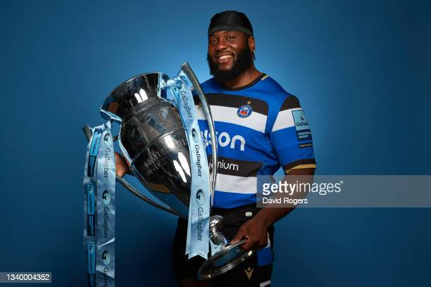 Ben Obano of Bath Rugby poses for a photo with the Gallagher Premiership Trophy during the Gallagher Premiership Rugby Season Launch at Twickenham...