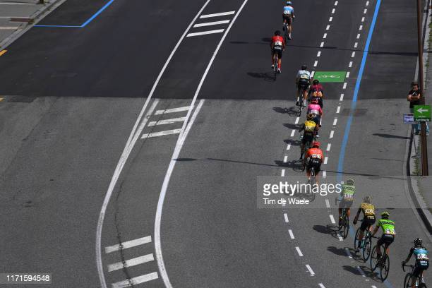 Ben O'Connor of Australia and Team Dimension Data / David de la Cruz of Spain and Team Ineos / Sergio Andres Higuita of Colombia and Team EF...