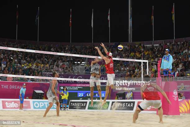 Ben O'Dea of New Zealand competes during the Beach Volleyball Men's Preliminary round against Jake Sheaf and Chris Gregory of England on day four of...