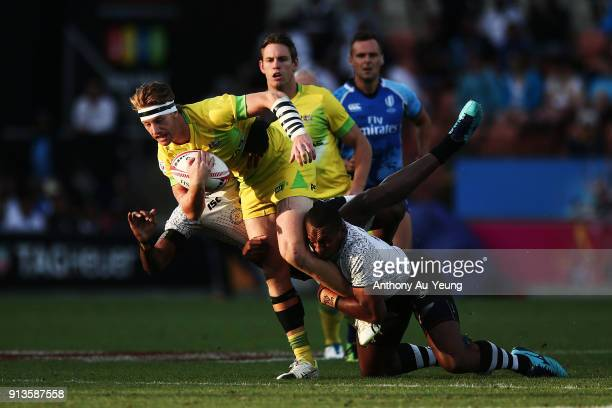 Ben O'Donnell of Australia on the charge against Fiji during the 2018 New Zealand Sevens at FMG Stadium on February 3 2018 in Hamilton New Zealand