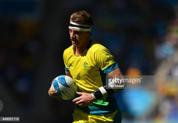 Ben O'Donnell of Australia runs in for a try during the Rugby Sevens Men's Placing 58th match between Australia and Kenya on day 11 of the Gold Coast...
