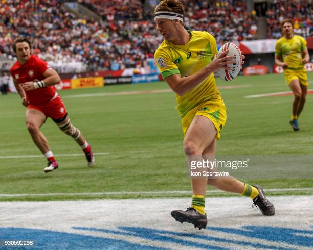 Ben O'Donnell of Australia scores during Game Australia vs Canada Pool A match at the Canada Sevens held March 1011 2018 in BC Place Stadium in...