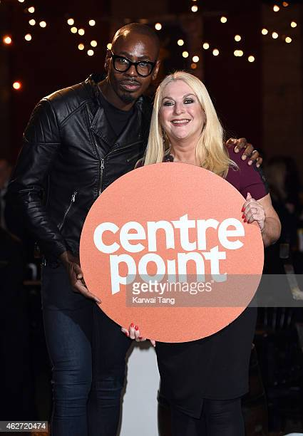 Ben Ofoedu and Vanessa Feltz attend the Centrepoint Ultimate Pub Quiz at Village Underground on February 3 2015 in London England