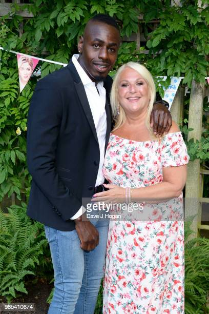 Ben Ofoedu and Vanessa Feltz attend the UK premiere of 'Patrick' at an exclusive private London garden on June 27 2018 in London England