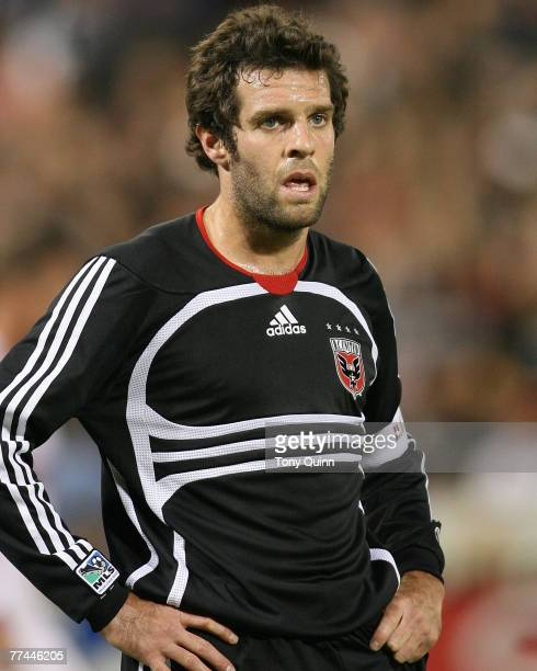 Ben Olsen DC United captain waits for a corner kick to be taken during a 00 tie against the Chicago Fire at RFK stadium October 13 2007 in Washington...