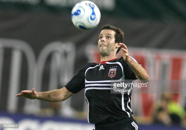 Ben Olsen of DC United prepares to control a high ball in a match against the New York Redbulls August 22 2007 at RFK Stadium in Washington DC