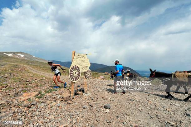 Ben Orvold of Sussex Wisconsin and Jason Hudson of Boise Idaho pull their burros around the Mosquito Pass marker sign at an elevation of 13188 feet...