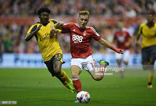 Ben Osborn of Nottingham Forest and Ainsley Maitland-Niles of Arsneal in action during the EFL Cup Third Round match between Nottingham Forest and...