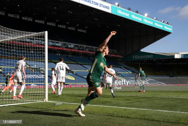 Ben Osborn of Sheffield United celebrates after scoring their side's first goal during the Premier League match between Leeds United and Sheffield...