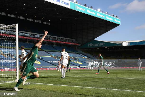 Ben Osborn of Sheffield United celebrates after scoring their team's first goal during the Premier League match between Leeds United and Sheffield...