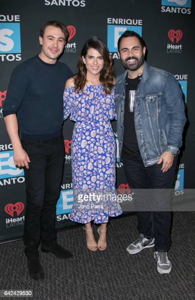 Ben O'Toole Karla Souza and Enrique Santos visit the Enrique Santos Show at I Heart Latino Tu949 on February 17 2017 in Miami Florida