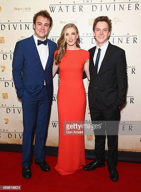 Ben O'Toole Odessa Young and James Fraser arrive at the World Premier of 'The Water Diviner' at State Theatre on December 2 2014 in Sydney Australia