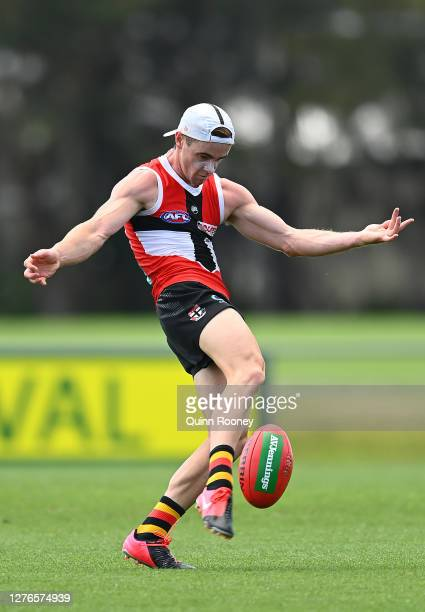 Ben Paton of the Saints kicks during a St Kilda Saints AFL training session at Maroochydore Multi Sport Complex on September 25 2020 in Sunshine...