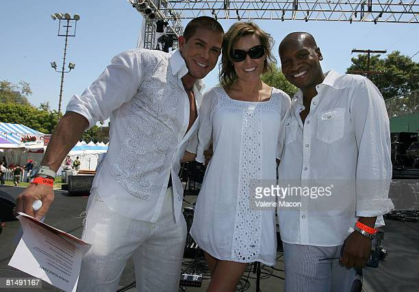 Ben Patrick Johnson Ami Cusack and Marcellas Reynolds perform onstage at the Los Angeles Gay Pride on Santa Monica Boulvard on June 7 2008 in West...