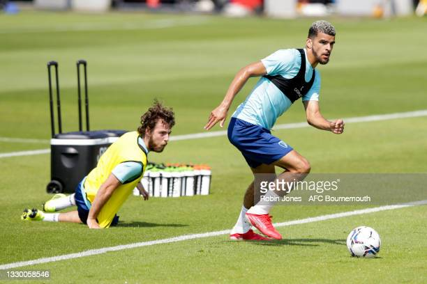 Ben Pearson and Dominic Solanke of Bournemouth during a pre-season training session at Vitality Stadium on July 22, 2021 in Bournemouth, England.