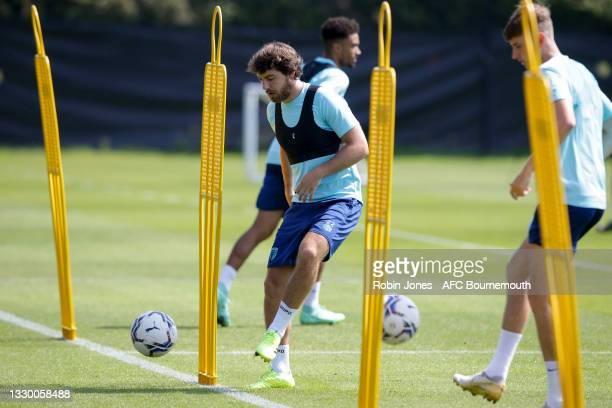 Ben Pearson of Bournemouth during a pre-season training session at Vitality Stadium on July 22, 2021 in Bournemouth, England.