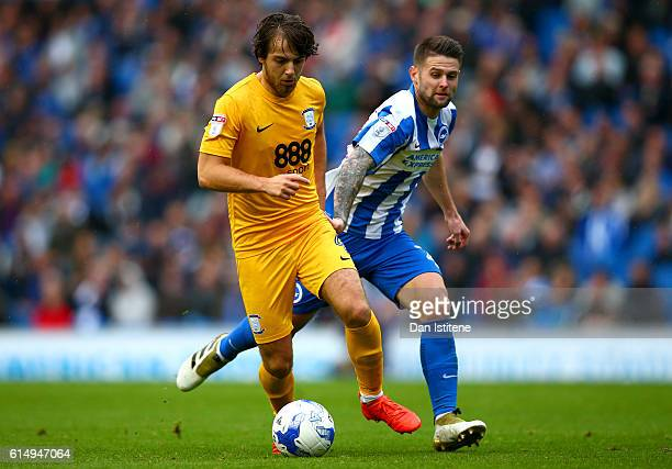 Ben Pearson of Preston North End battles for the ball with Oliver Norwood of Brighton & Hove Albion during the Sky Bet Championship match between...