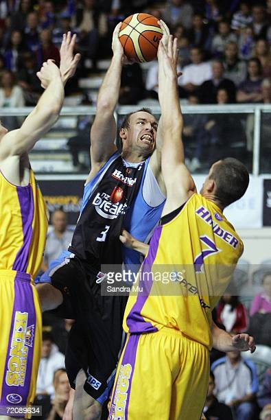 Ben Pepper of the Breakers looks to shoot the ball during the round three NBL game between the New Zealand Breakers and the Sydney Kings at the North...