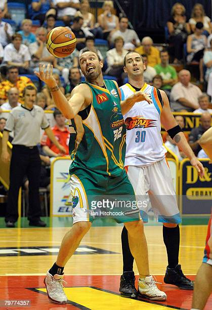Ben Pepper of the Crocodiles gathers in the ball during the round twenty two NBL match between the Townsville Crocodiles and the Gold Coast Blaze at...
