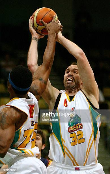 Ben Pepper of Townsville rebounds during the round one NBL match between the West Sydney Razorbacks and the Townsville Crocodiles at the Sydney...