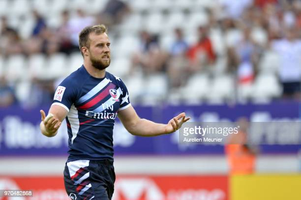 Ben Pickelman of The United States Of America reacts during the match between England and the United States Of America at the HSBC Paris Sevens stage...