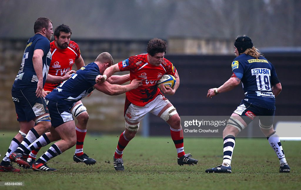 Ben Pienaar of London Welsh attempts to break away during the Aviva Premiership match between London Welsh and Sale Sharks at The Kassam Stadium on February 15, 2015 in Oxford, England.