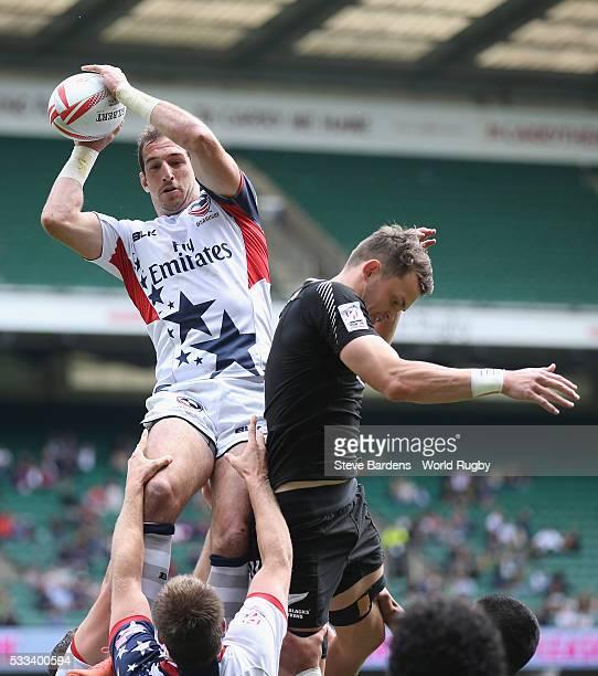 Ben Pinkelman of USA wins a line out during the bowl quarter final match between New Zealand and USA during the HSBC London Sevens at Twickenham...