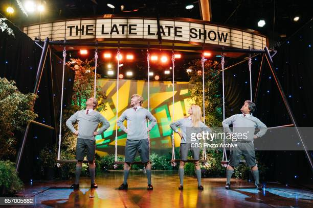 Ben Platt Abigail Spencer and Tim Minchin perform with James Corden during 'The Late Late Show with James Corden' Monday March 20 2017 On The CBS...