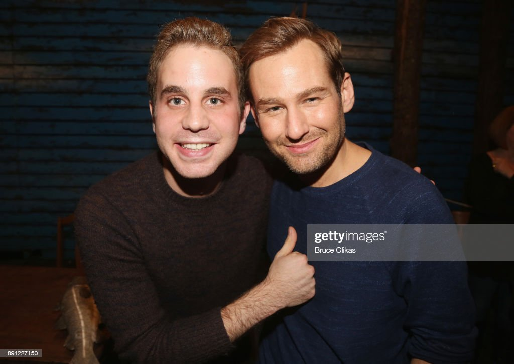 Ben Platt and Chad Kimball pose backstage at the hit musical 'Come From Away' on Broadway at The Schoenfeld Theater on December 16, 2017 in New York City.