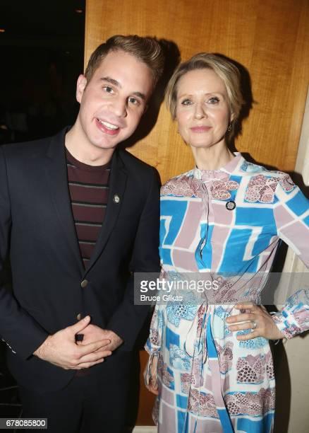 Ben Platt and Cynthia Nixon pose at The 71st Annual Tony Awards Meet the Nominees Press Junket at Sofitel Hotel on May 3 2017 in New York City