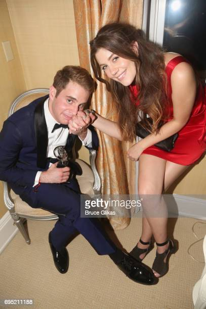 Ben Platt and his stage costar Laura Dreyfuss pose at the 2017 DKC/OM Tony After Party at The Carlysle Hotel on June 11 2017 in New York City