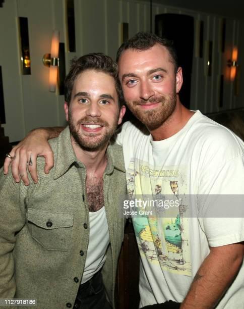 Ben Platt and Sam Smith attend the Ben Platt Atlantic Records Album Listening Party on February 06 2019 in Los Angeles California