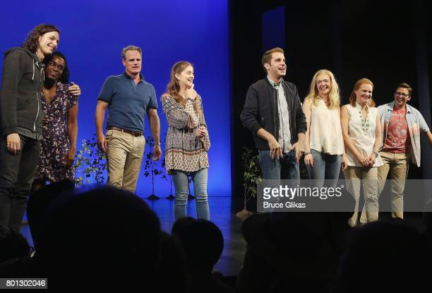 Ben Platt and the cast at The Actors Fund of America's benefit performance of the hit musical 'Dear Evan Hansen' on Broadway at The Music Box Theatre...