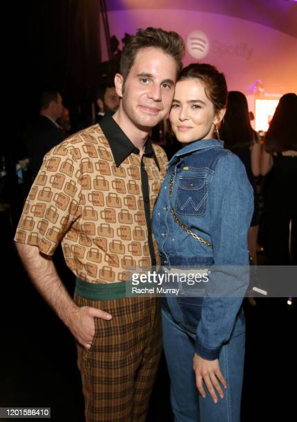Ben Platt and Zoey Deutch attend Spotify Hosts Best New Artist Party at The Lot Studios on January 23 2020 in Los Angeles California