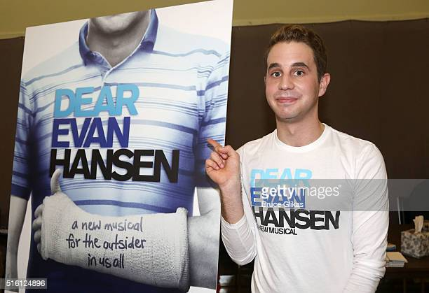 Ben Platt poses during a 'Dear Even Hansen' Media Preview at Second Stage Theatre on March 16 2016 in New York City