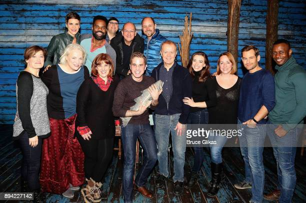 Ben Platt poses with the cast backstage at the hit musical 'Come From Away' on Broadway at The Schoenfeld Theater on December 16 2017 in New York City