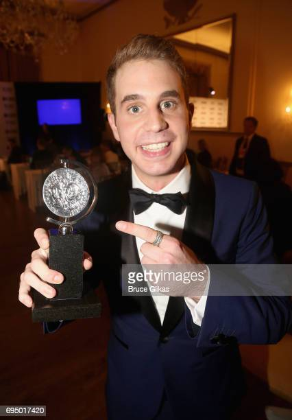 "Ben Platt winner of the award for Best Lead Actor in a Musical for ""Dear Evan Hanson"" poses in the press room during the 2017 Tony Awards at 3 West..."