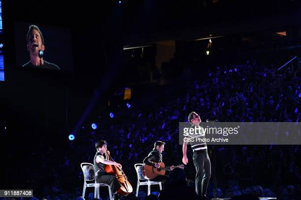 Ben Platt with cellist Adele Stein and guitarist Justin Goldner at THE 60TH ANNUAL GRAMMY AWARDS broadcast live on both coasts from New York Citys...