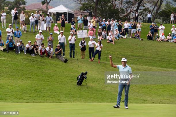 Ben Poland of the United States greets the crowd during the final round of the Guatemala Stella Artois Open at La Reunion Golf Resort Fuego Maya on...