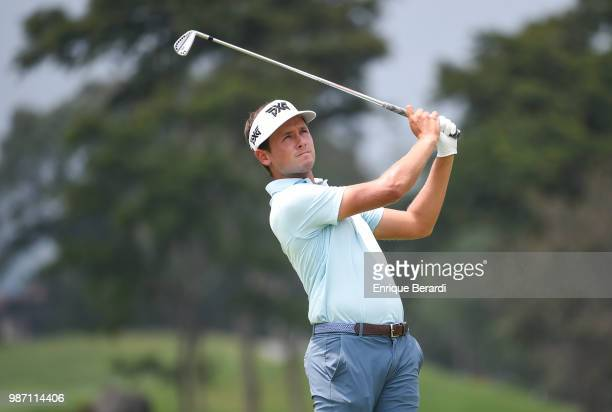Ben Polland of the United States hits a tee shot off the 11th hole during the final round of the PGA TOUR Latinoamérica Guatemala Stella Artois Open...