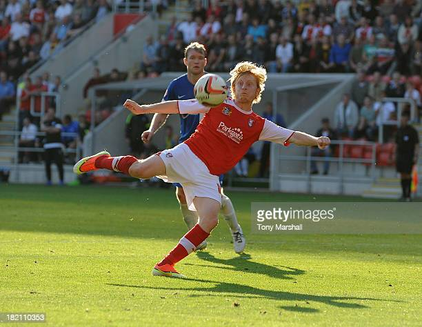 Ben Pringle of Rotherham United takes a shot at goal during the Sky Bet League One match between Rotherham United and Peterborough United at The New...