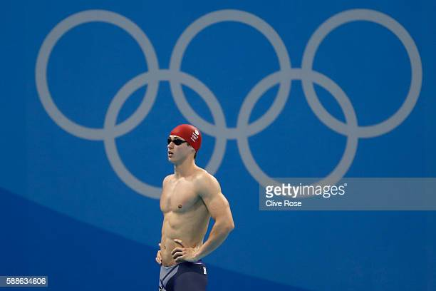 Ben Proud of Great Britain looks on in the second Semifinal of the Men's 50m Freestyle on Day 6 of the Rio 2016 Olympic Games at the Olympic Aquatics...
