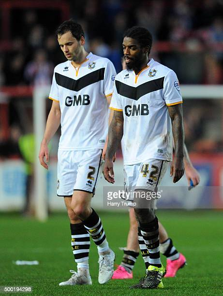 Ben Purkiss of Port Vale and Anthony Grant of Port Vale look dejected at the final whistle during the Emirates FA Cup Second Round match between...