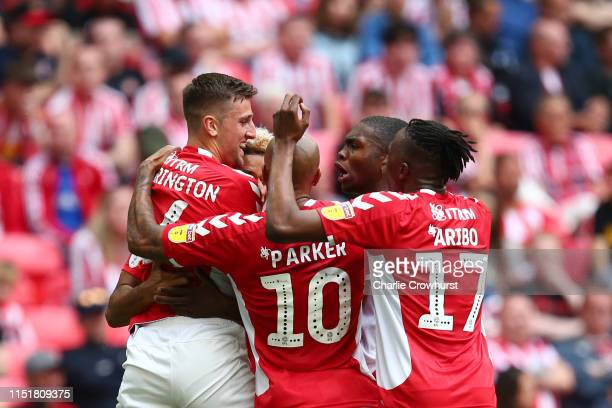 Ben Purrington of Charlton Athletic celebrates with team mates after scoring his team's first goal during the Sky Bet League One Playoff Final match...