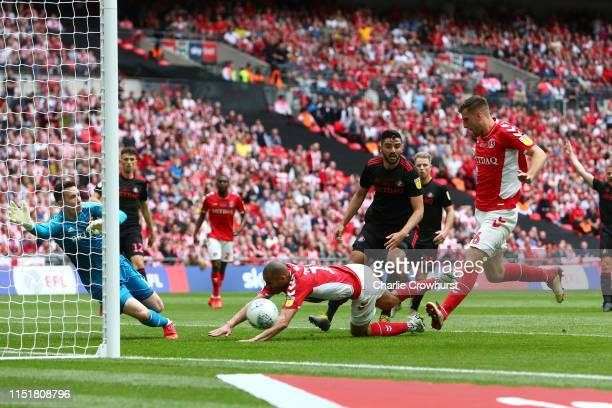 Ben Purrington of Charlton Athletic scores his team's first goal past during the Sky Bet League One Playoff Final match between Charlton Athletic and...
